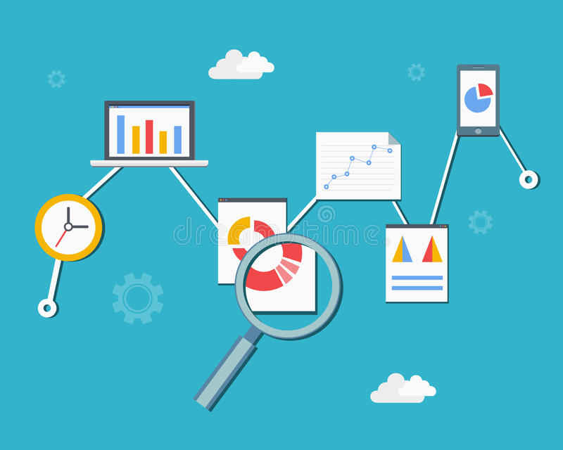 Web statistics and analytics. Infographics diagram vector illustration in flat style royalty free illustration
