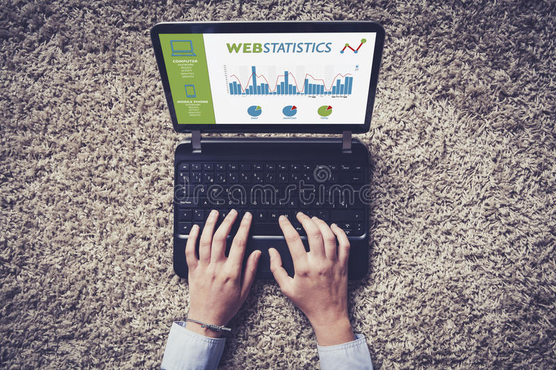 Web statistics consulting in a laptop computer. royalty free stock images