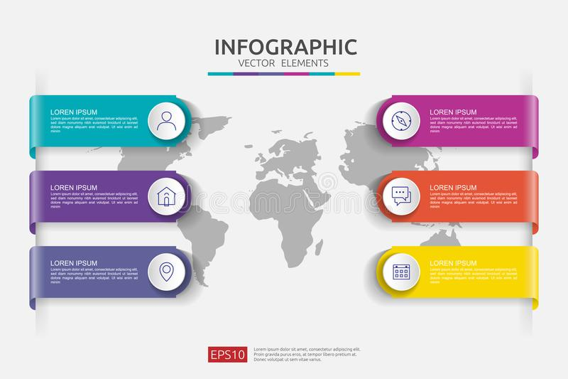 Web6 steps infographic. timeline design template with 3D paper label and world map background. Business concept with options. For stock illustration