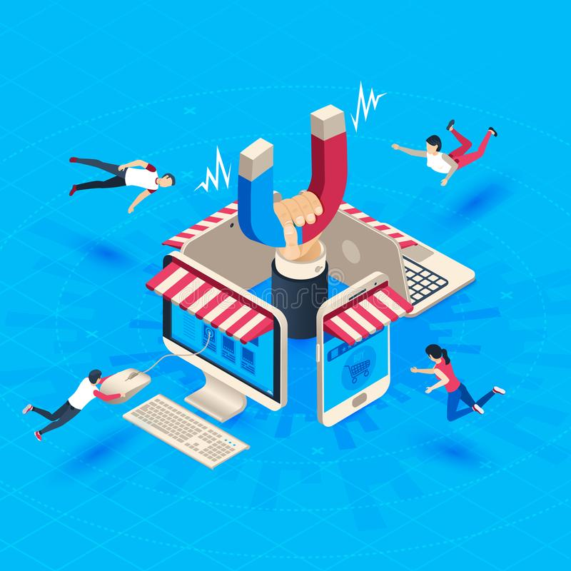 Web store customer attraction. Attract buyers, isometric retain loyal clients and social media business marketing vector royalty free illustration