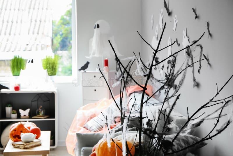 Web sur des branches d'arbre comme décor pour la partie de Halloween dans la chambre image stock