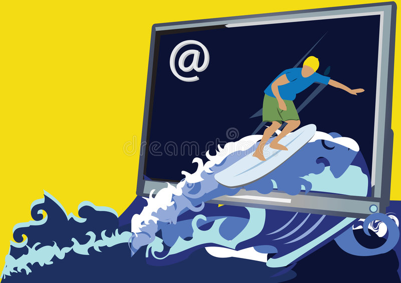 Web surfer. Abstract vector illustration of a web surfer coming from the monitor vector illustration