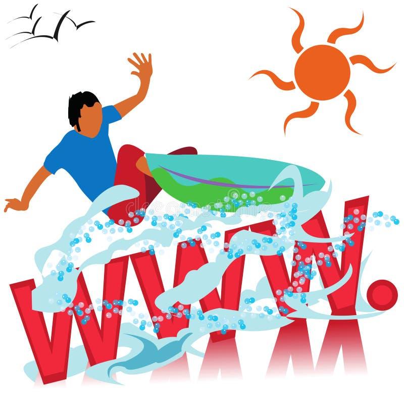 Web surfer logo. Abstract illustration of a surfer suitable for logo web sites promotions etc stock illustration
