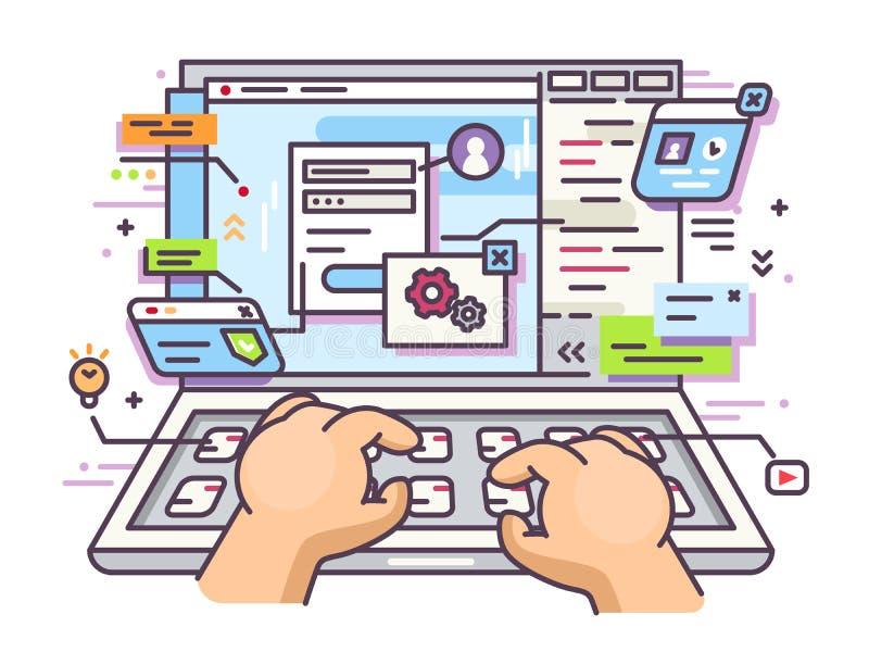 Web surfing on laptop royalty free illustration