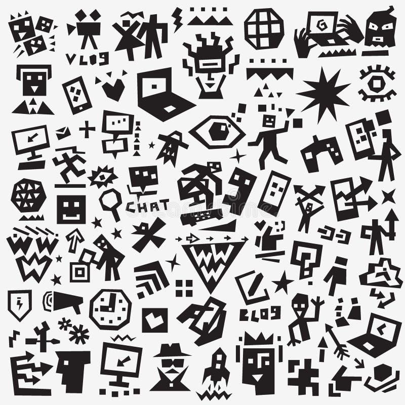 Web symbols - icon set , vector design elements. Web symbols - doodles , vector silhouettes cartoon set stock illustration