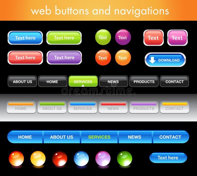 Web-Tasten und -navigationen vektor abbildung