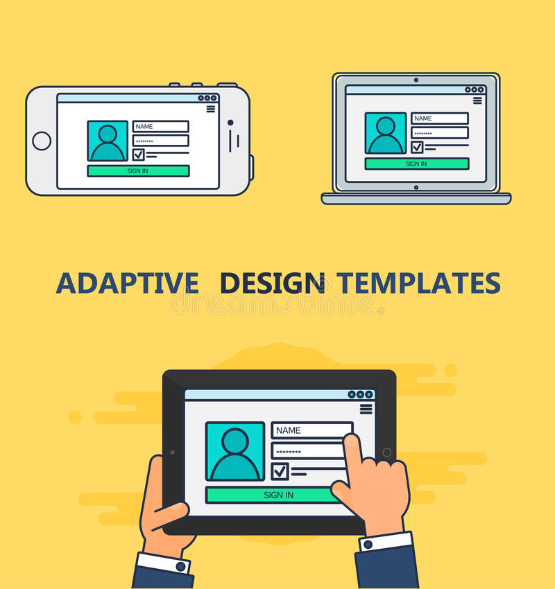 Web Template of Adaptive Login Form stock illustration