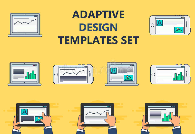 Web Template of Adaptive Site or Article Form. Adaptive Web Phone Template and Gadget Elements for site of blog and infographics on Smartphone, Tablet, Notebook royalty free illustration