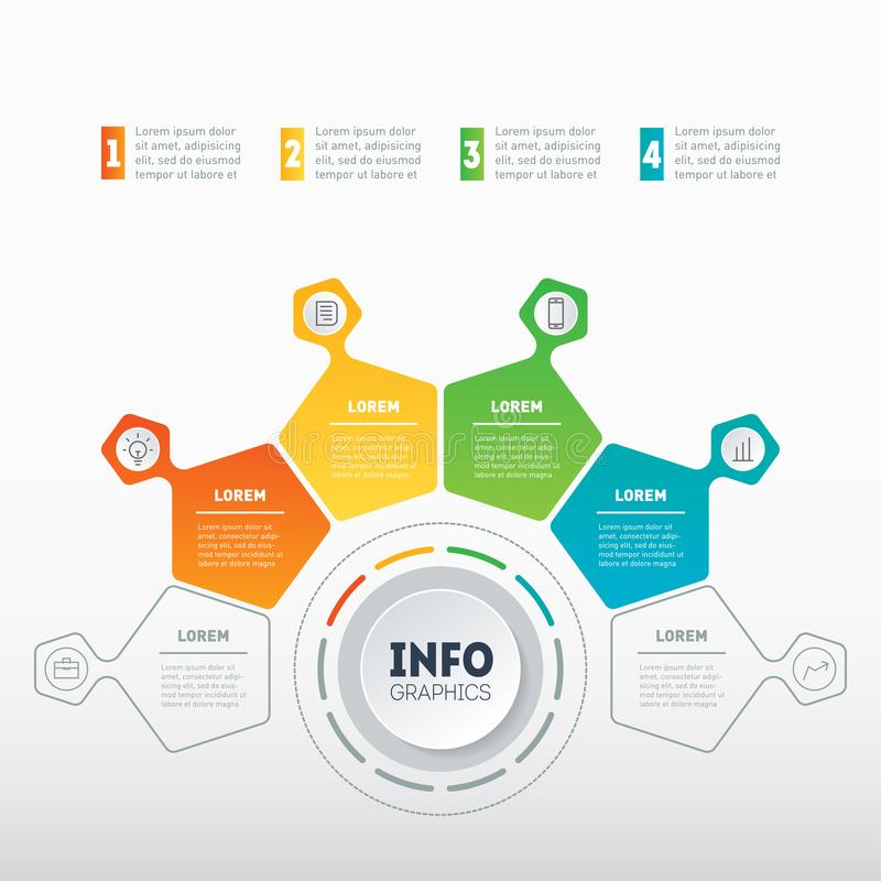 Web Template of a chart, info graphic, mindmap or diagram. Business presentation or infographic with 4 options. Vector. Infographics with 4 parts of technology royalty free illustration