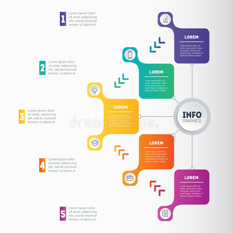 Web Template of a chart, mindmap or diagram with 5 processes. Bu. Siness presentation or infographic with 5 options. Vector dynamic infographics or mind map of stock illustration
