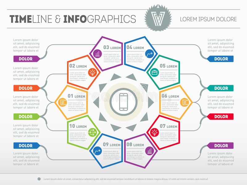 Web Template for circle diagram or presentation. Business concept with 10 options. Vector infographic of technology or education vector illustration