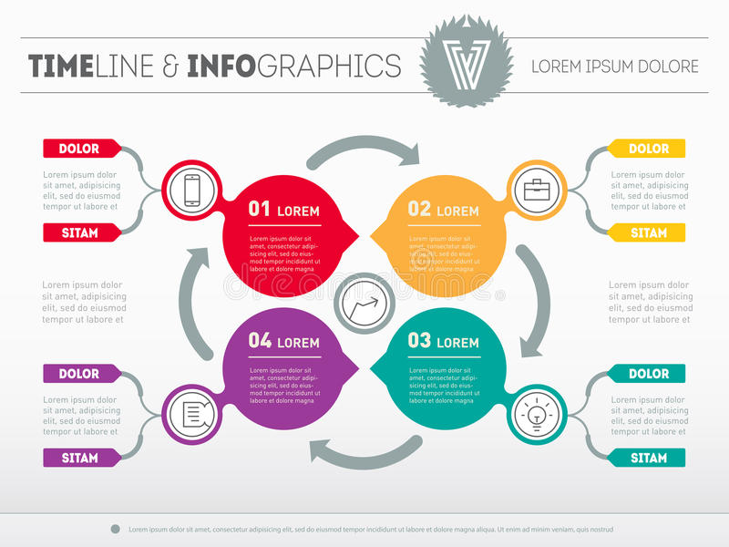 Web Template for circle diagram or presentation. Business concept with 4 options. Vector infographic of technology process. royalty free illustration