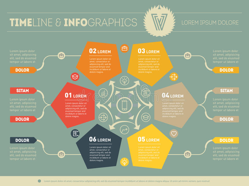 Web Template for circle diagram or presentation. Concept with si. X options. Vector infographics of technology or Business process. Part of the report on green stock illustration