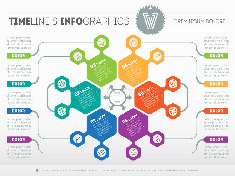 Web Template for circle infographic, diagram or presentation. Bu. Siness concept with 6 options. Vector infographic of technology process or teamworks. Part of vector illustration