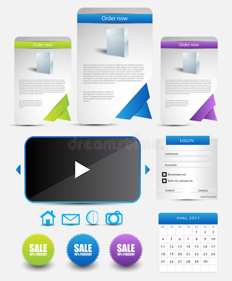 Web template elements vector illustration