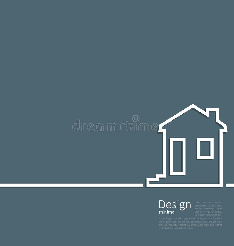 Web template house logo in minimal flat style cleaness line. Illustration web template house logo in minimal flat style cleaness line - vector stock illustration