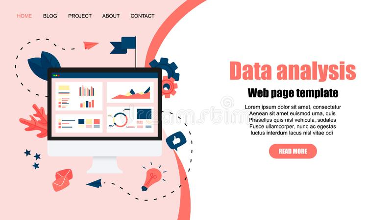 Web template. Mans studying financial statistics on screen monitor. Financial reports, charts graphs on screens of desktop. Business concept royalty free illustration