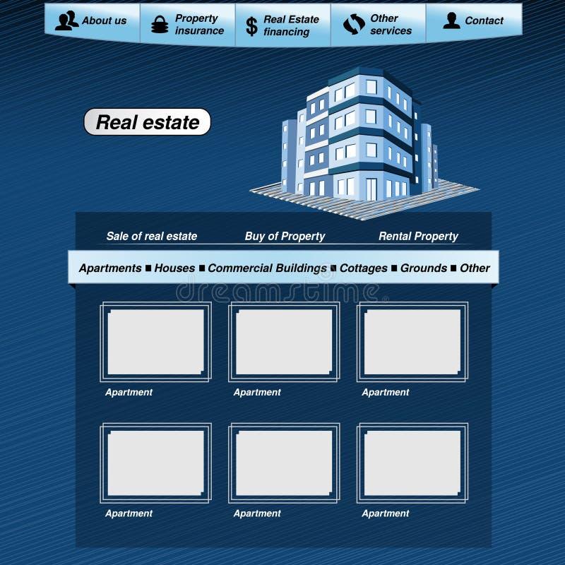 Web template, real estate webdesign proposal. Illustration royalty free illustration