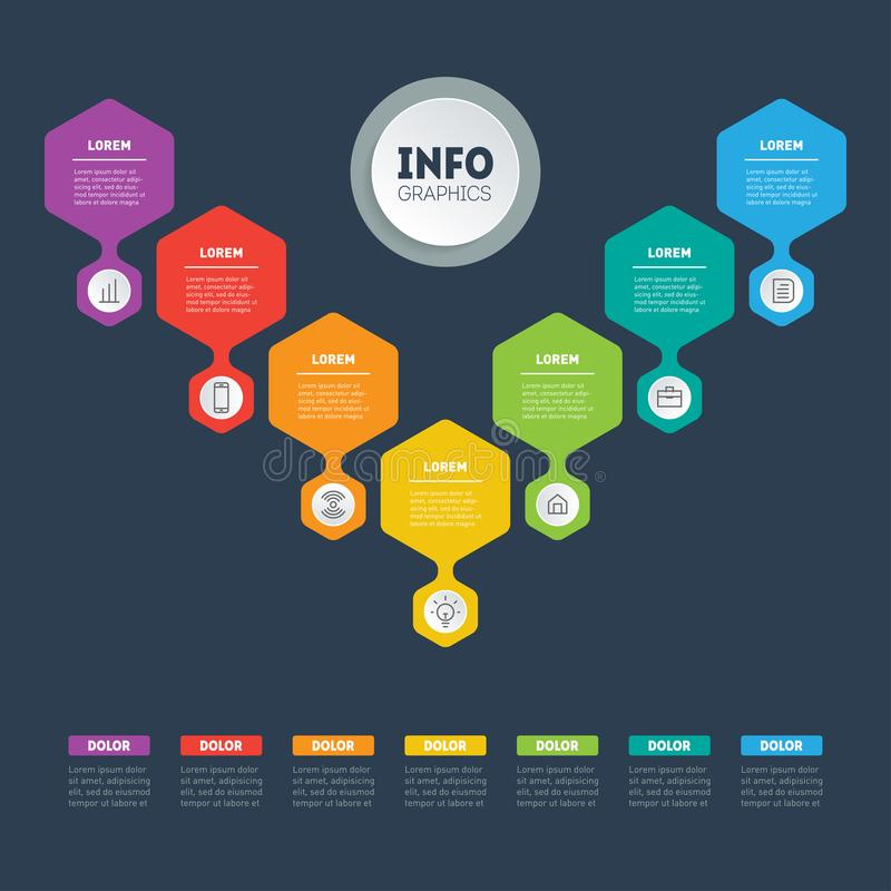 Web Template of a sales pipeline, purchase funnel, info chart or. Diagram. Business presentation concept with 7 options. Vector infographic of technology or stock illustration