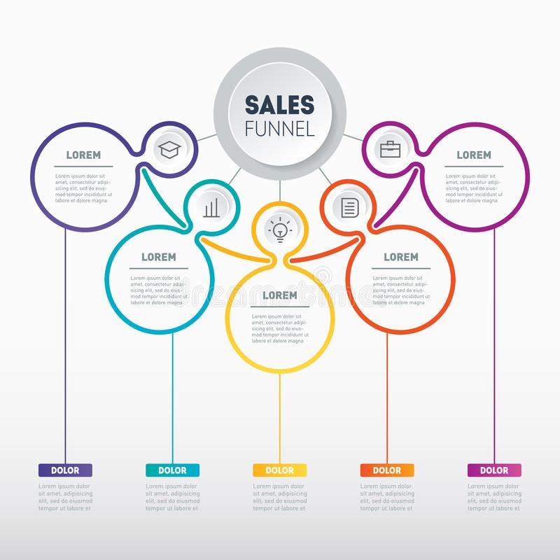 Web Template of a sales pipeline, purchase funnel, sales funnel, info chart or diagram. Vector infographic of technology or. Education process. Part of the vector illustration