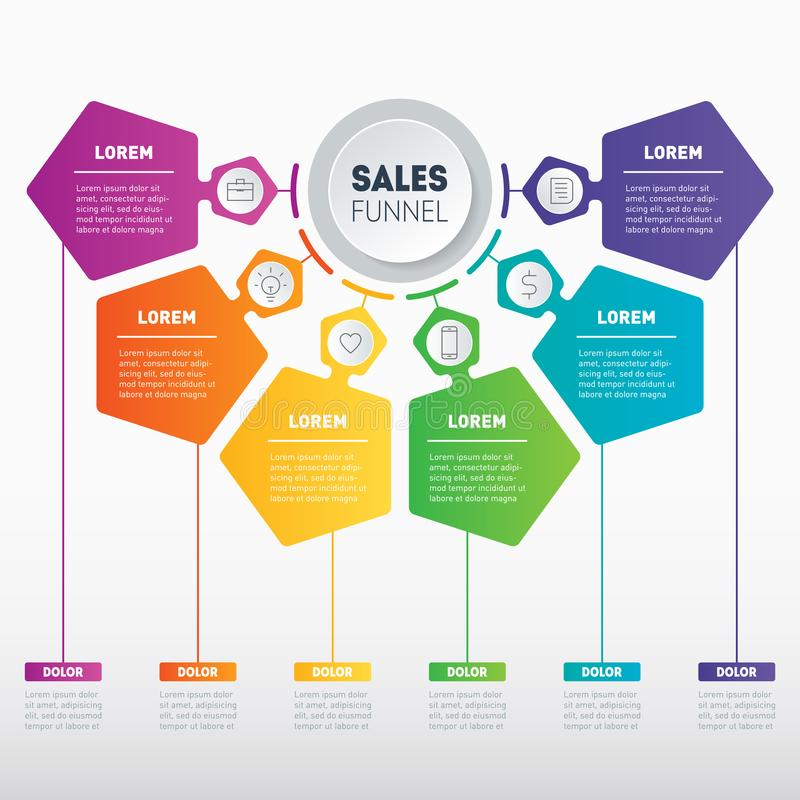 Web Template of a sales pipeline, purchase funnel, sales funnel, info chart or diagram with 6 steps. Vector infographic of techno. Logy or education process royalty free illustration