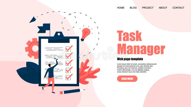 Web template. Task manager concept. To-Do list apps. Vector illustration. royalty free illustration