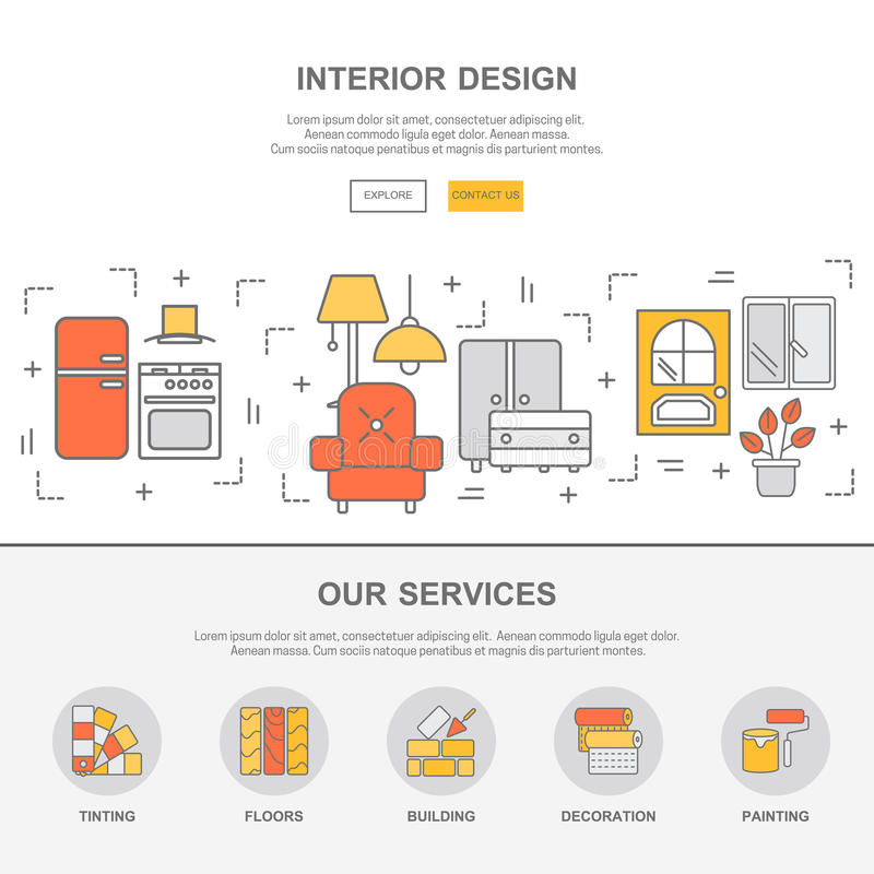 Web Template With Thin Line Icons Of Interior Design Stock Vector