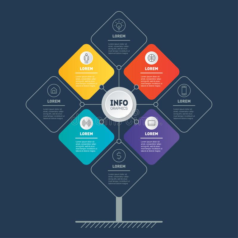 Web Template of tree, info chart or diagram. Infographic of technology or education process with four or eight steps. Brochure. Design template. Business vector illustration