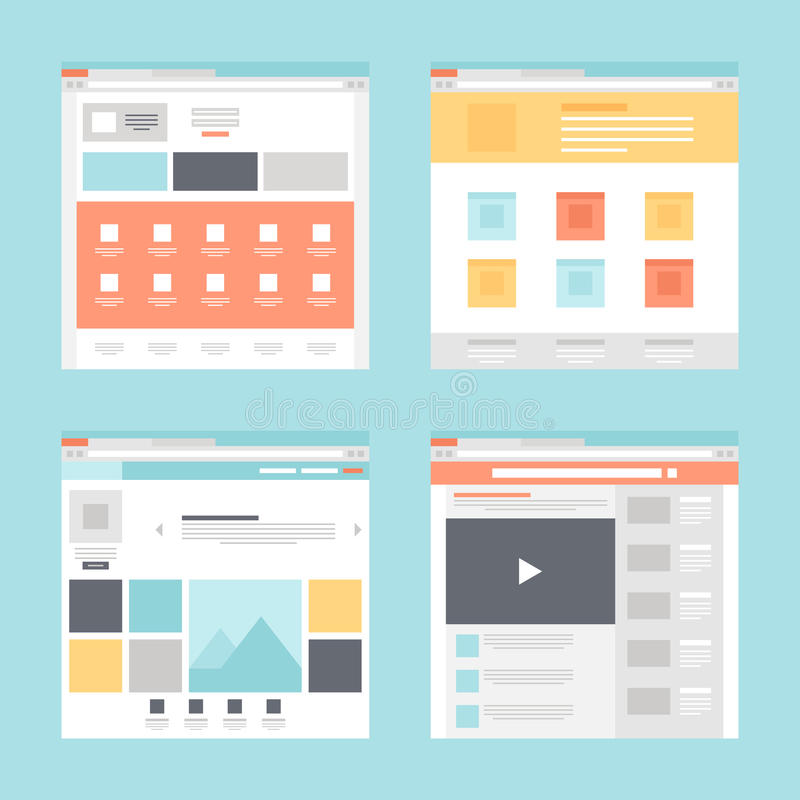 Web template. Vector collection of flat website templates on blue background royalty free illustration