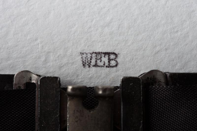 web text on the vintage typewriter stock images