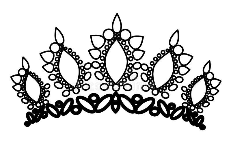 web tiarakronen Huwelijksdiadeem met diamanten en gemmen De prinses bekroont vector Juwelenontwerp stock illustratie