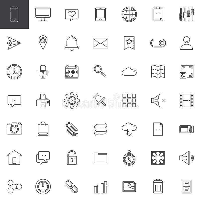 Web tools line icons set stock illustration