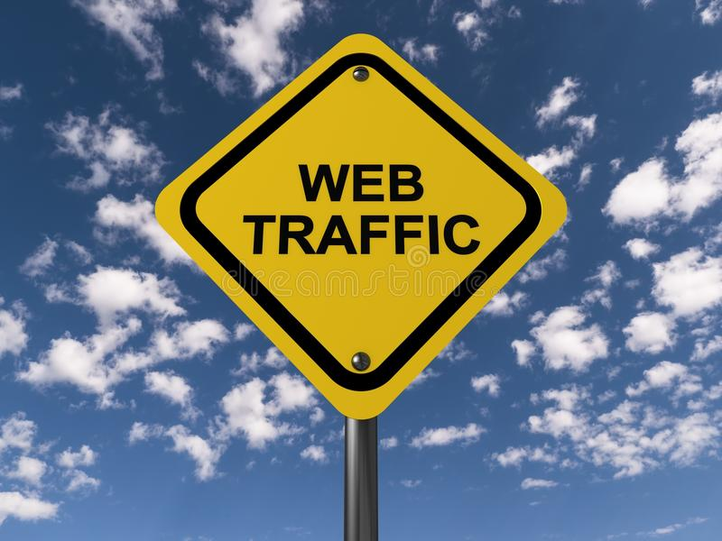 Web traffic. An yellow street sign with the text 'web traffic royalty free illustration