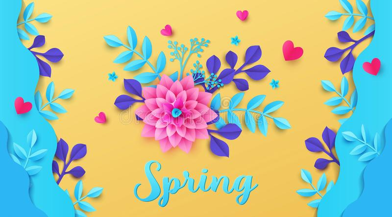 Trendy colored Spring Summer background design with beautiful flowers and plants in waves. Paper cut and craft style. royalty free illustration