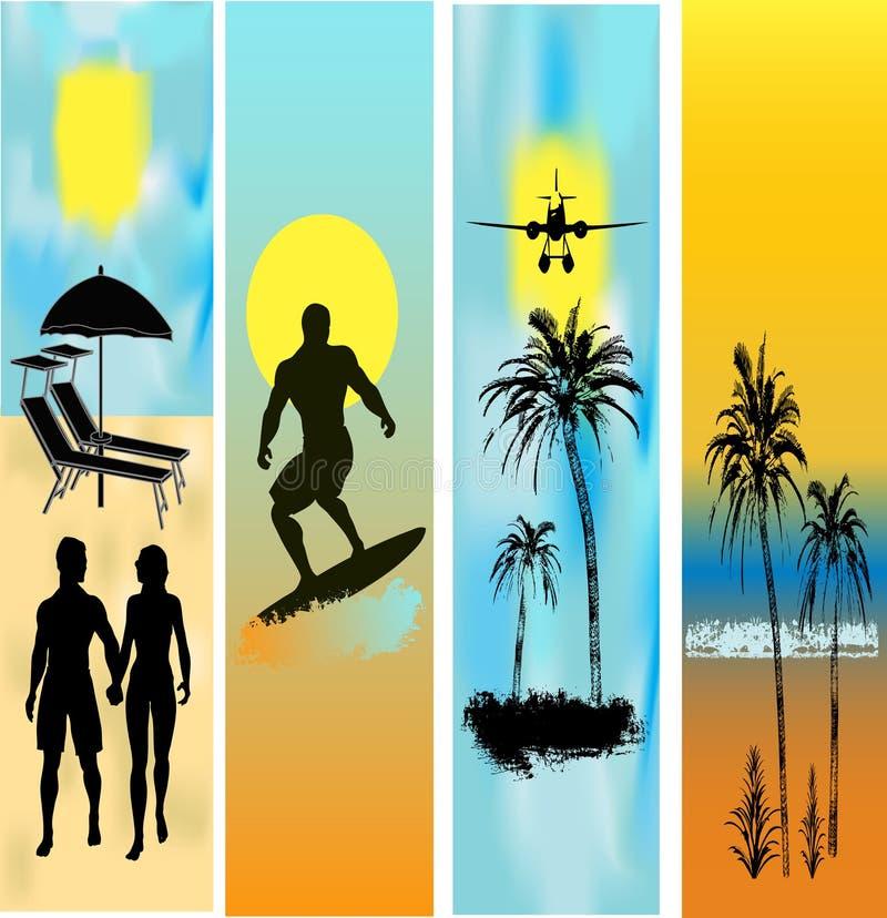 Web tropical de descripteurs de plage de drapeau illustration de vecteur