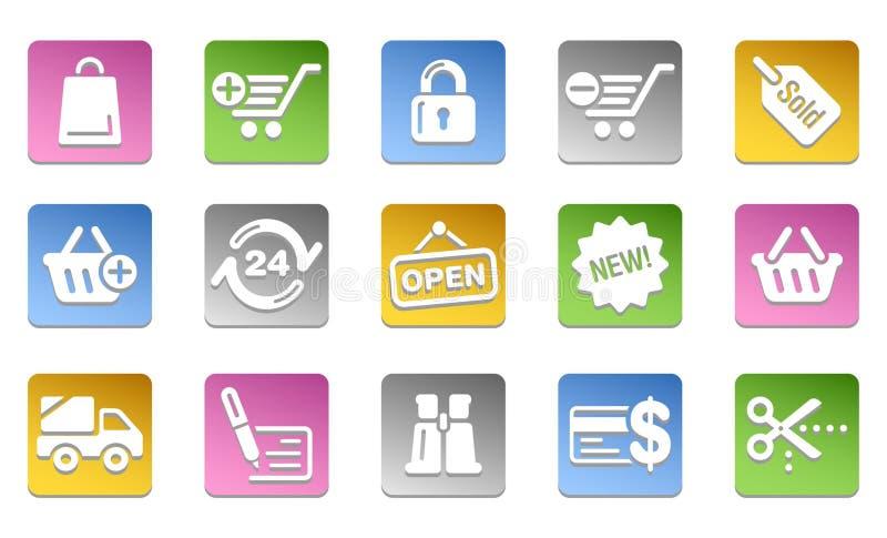 Web, ufficio ed icone di affari Bottoni colorati illustrazione di stock