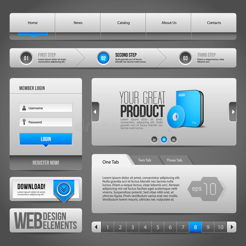 Web UI Controls Elements Gray And Blue On Dark Background: Navigation Bar, Buttons, Accordion, Tabs, Login Form, Search. Web UI Controls Elements Gray And Blue vector illustration