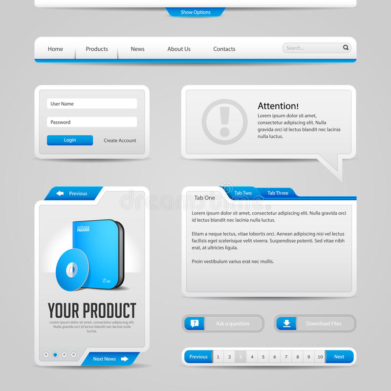 Web UI Controls Elements Gray And Blue On Dark Background: Navigation Bar, Buttons, Login Form, Slider, Message Box, Menu, Tabs stock illustration