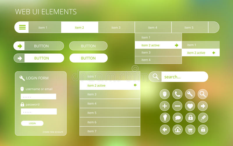 Web ui elements suitable for flat design. Transparent on green blurry background, illustration