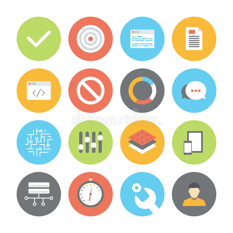 Web and UI flat icons set vector illustration