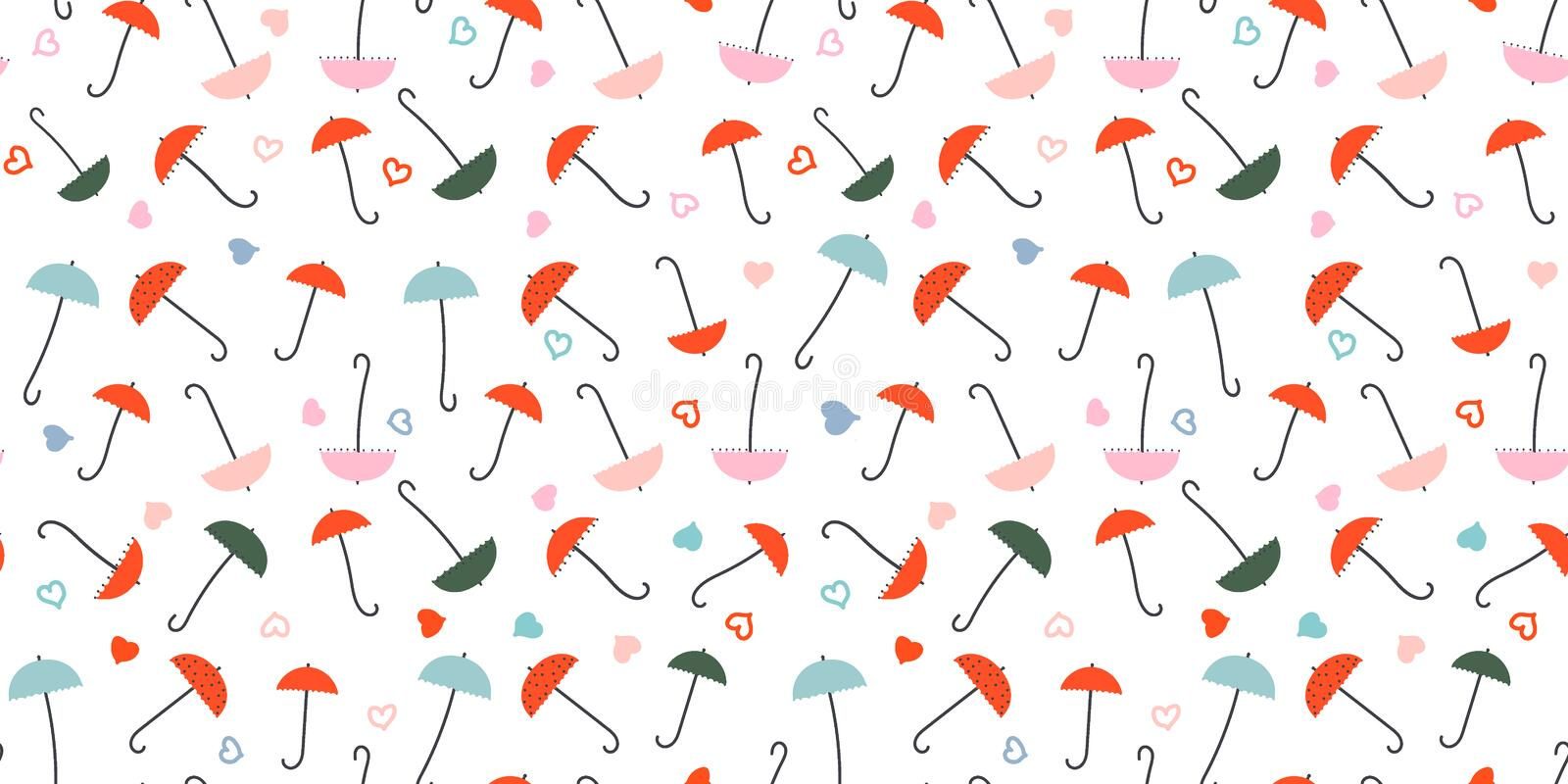 Umbrellas and Hearts - seamless pattern. Small colorful umbrellas, hearts. Drawing in retro style. Background or texture for tissue paper, etc royalty free illustration