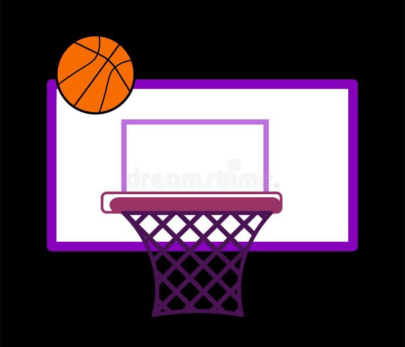 Web un cercle de basket-ball sur le bouclier et un vol de boule dans lui Illusion de vecteur illustration de vecteur