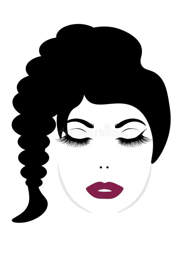Web un'immagine dei cigli chiusi dell'occhio della ragazza graziosa del fronte royalty illustrazione gratis