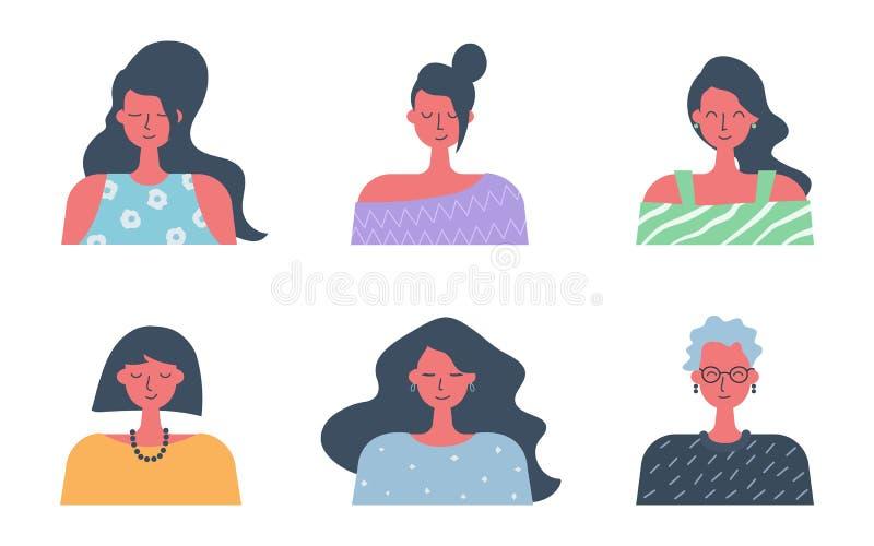 Web- und Internet-Ikonen für Ihr site-, Internet-, Darstellungs- und Anwendungsprojekt Sechs verschiedene Frauenbildnisse im flac stock abbildung