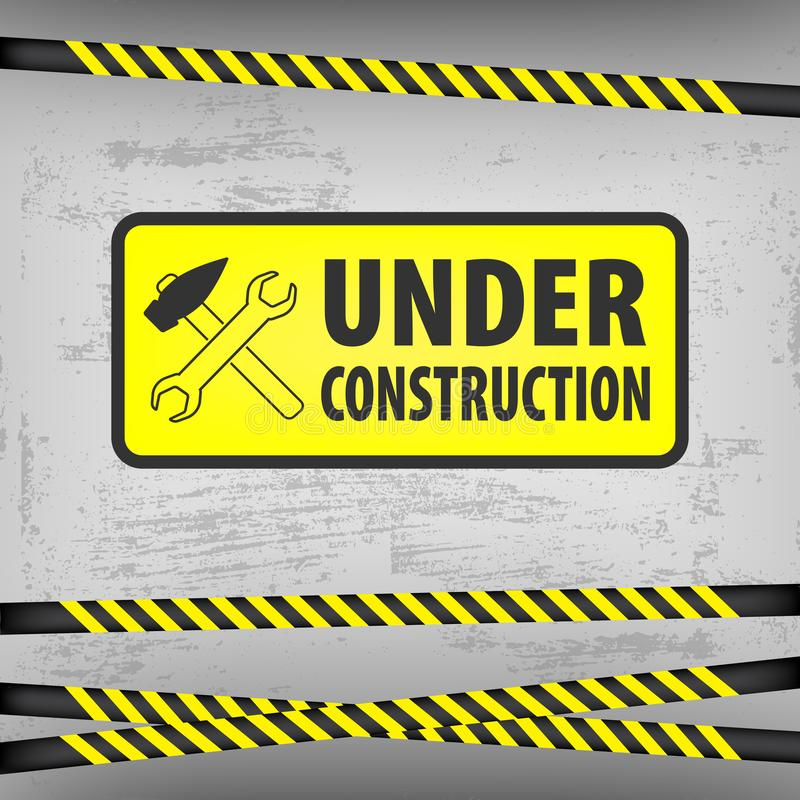 Under construction sign on gray ground background. Vector illustration for website. Under construction rectangle with a hammer and. A screwdriver. Process of stock illustration