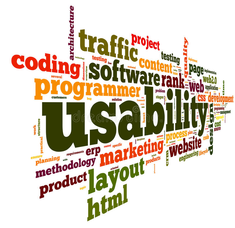 Usability concept in tag cloud. Web usability concept in tag cloud on white background stock illustration