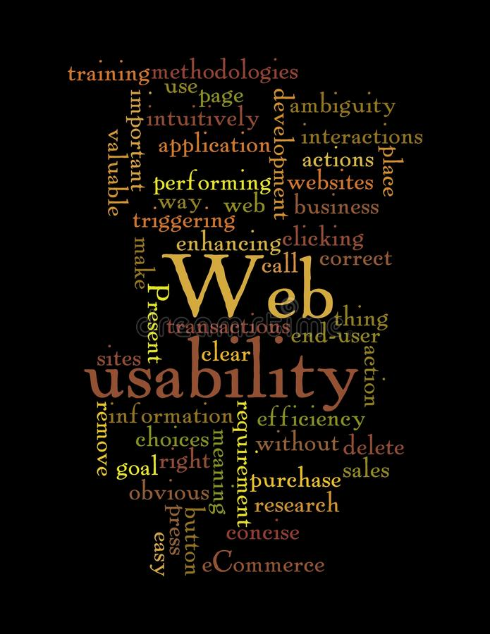 Web Usability word cloud isolated on black. Word Cloud Illustration of Web Usability on black background royalty free illustration