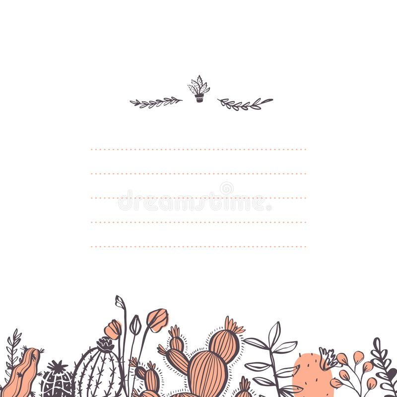 Vector abstract card design template with cactus, branches, floral elements bottom frame and text place isolated on white backgrou. Nd. Hand drawn sketch style royalty free illustration