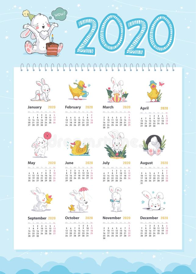 Vector baby calendar for 2020 year template with cute little white bunny and yellow funny duck characters in hand drawn style walk vector illustration