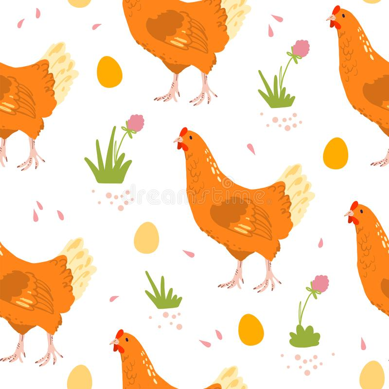 Vector flat seamless pattern with hand drawn farm domestic hen birds, eggs and flowers isolated on white background. stock illustration